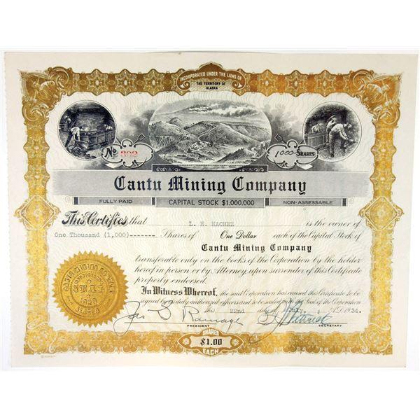 Cantu Mining Co., 1934 I/U Stock Certificate
