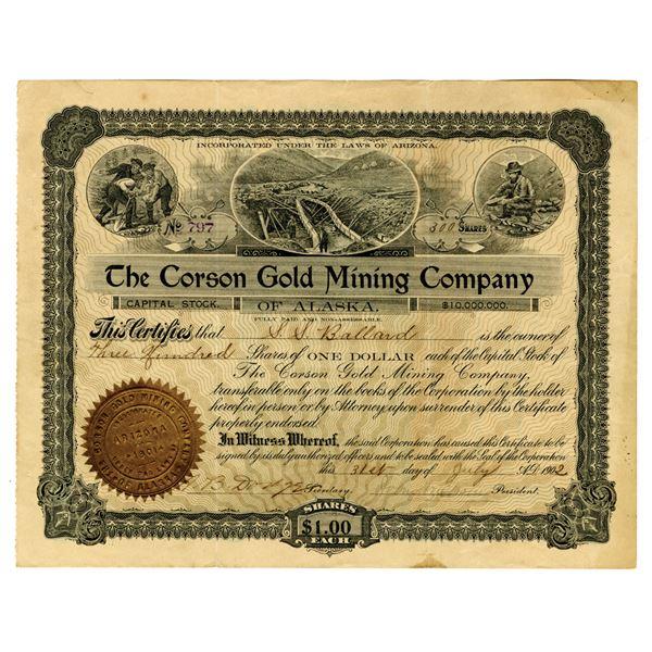Corson Gold Mining Co. of Alaska, 1902 I/U Stock Certificate.