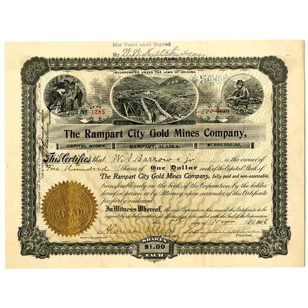 Rampart City Gold Mines Co., 1902 I/U Alaska Mining Stock Certificate.
