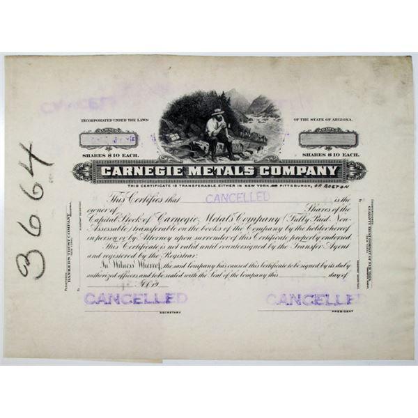 Carnegie Metals Co. 1928 Progress Proof Stock Certificate