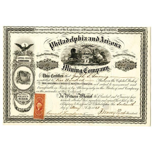 Philadelphia and Arizona Mining Co. 1868 I/U Stock Certificate