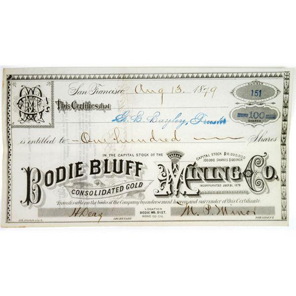 Bodie Bluff Consolidated Gold Mining Co. 1879 I/U Stock Certificate