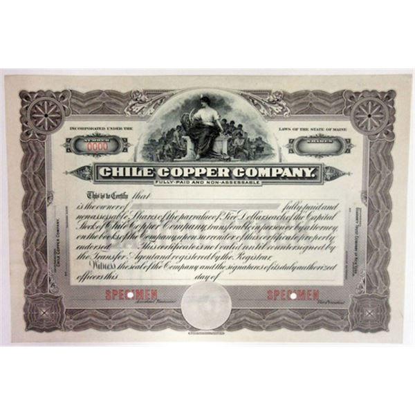 Chile Copper Co. 1910-20 Specimen Stock Certificate.