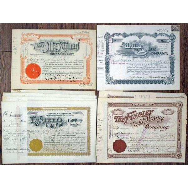 Colorado Mining Stock Certificates Group of 8 I/C Stock Certificates, ca. 1893-1907