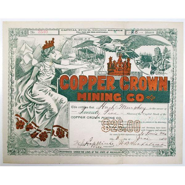 Copper Crown Mining Co. 1910 I/U Stock Certificate