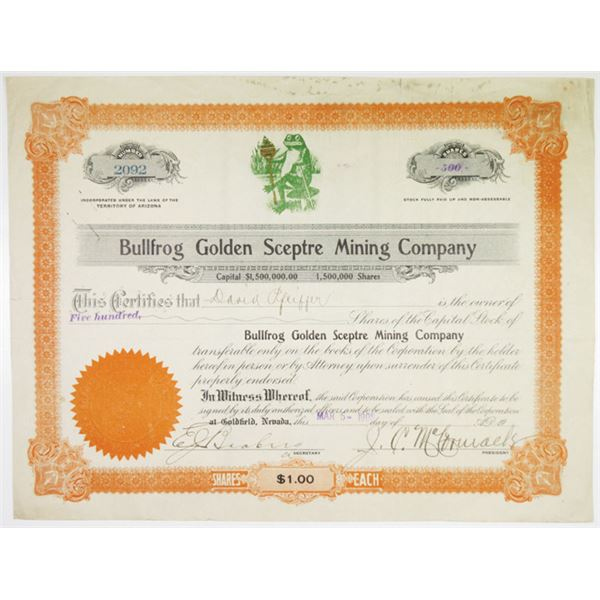 Bullfrog Golden Sceptre Mining Co. 1908 I/U Stock Certificate