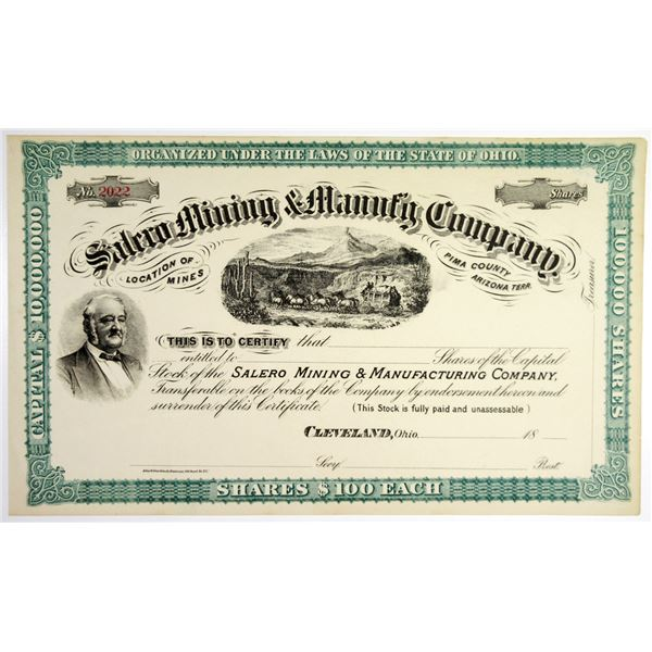 Salero Mining & Manufacturing Co., 18xx (ca.1870-80's) Unissued Stock Certificate With Henry Wells P