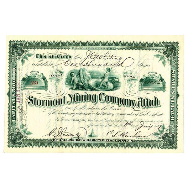 Stormont Mining Co. of Utah, 1887 I/U Stock Certificate