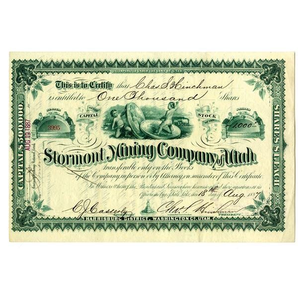Stormont Mining Co. of Utah, 1887 I/U Stock Certificate.
