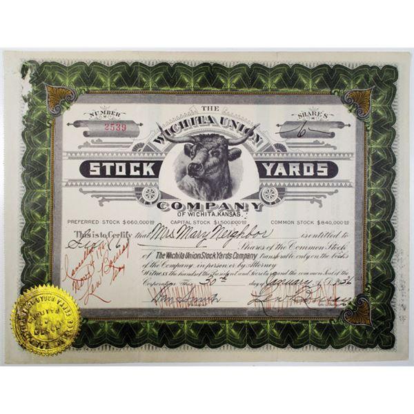Wichita Union Stock Yards Co. 1936 I/C Stock Certificate