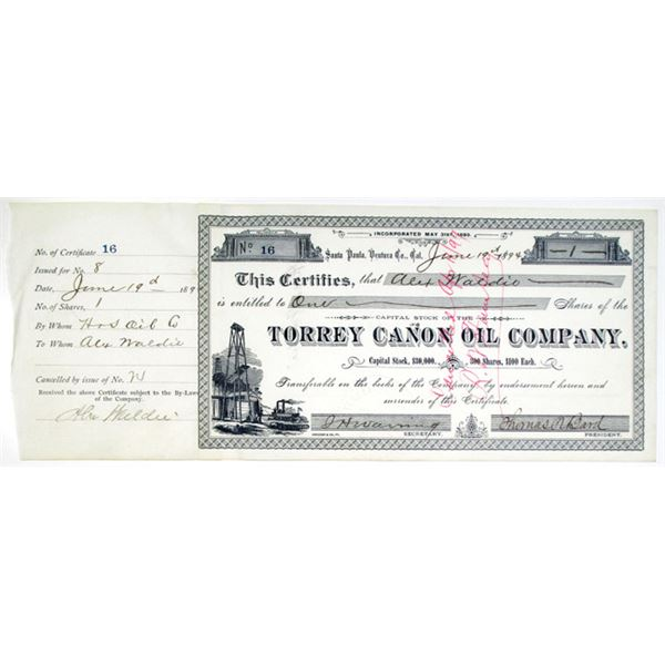 Torrey Canon Oil Co. 1894 I/C Stock Certificate Signed by Thomas R. Bard