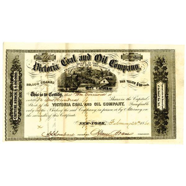 Victoria Coal & Oil Co. 1860 I/U Stock Certificate.