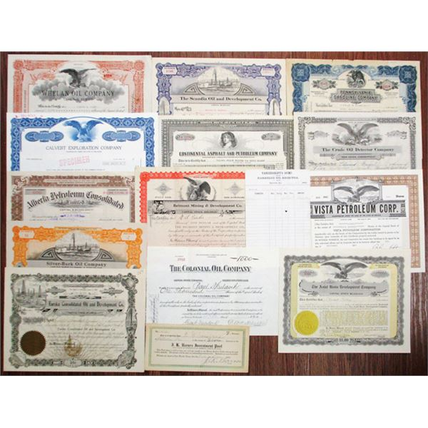 Group of Oil Stock Certificates, ca.1900 to 1969.