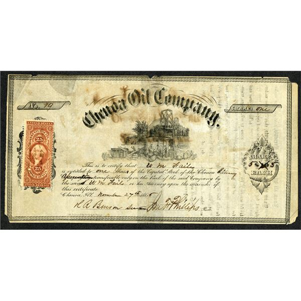 Chenoa Oil Company, 1865 I/U Stock Certificate