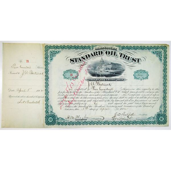 Standard Oil Trust 1882 Issued Stock Certificate Signed by J.D. Rockefeller, J.A. Bostwick, and H.M.