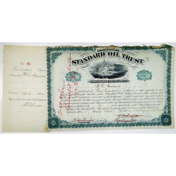 Standard Oil Trust 1882 Issued Stock Certificate Signed by J.D. Rockefeller, J.A. Bostwick, H.M. Fla