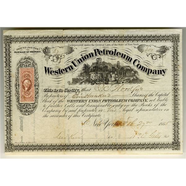 Western Union Petroleum Co., 1865 Issued Stock Certificate.