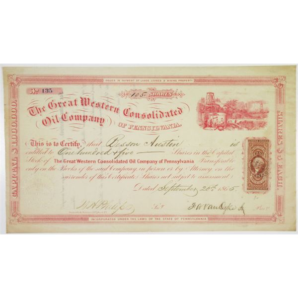 Great Western Consolidated Oil Co. of Pennsylvania 1865 I/U Stock Certificate