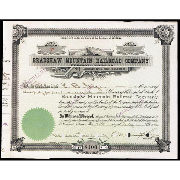 Bradshaw Mountain Railroad Co. 1902 I/C Stock Certificate.
