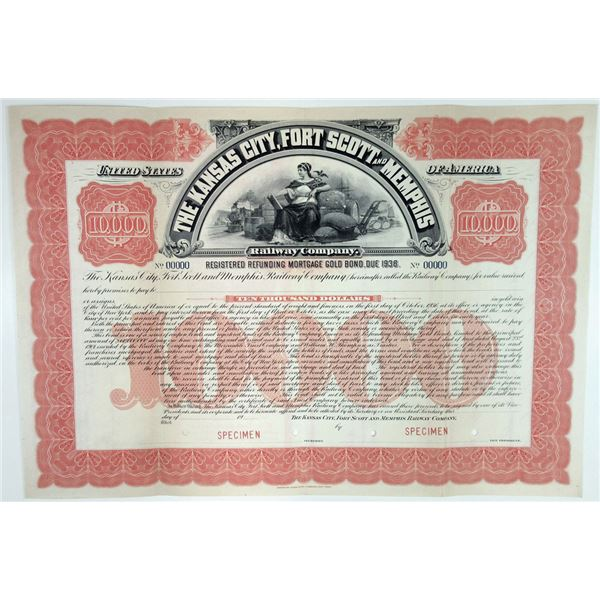 Kansas City, Fort Scott and Memphis Railway Co., ca.1900-1910 Specimen Bond
