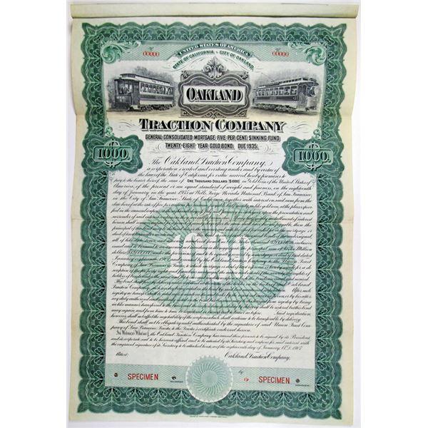 Oakland Traction Co. 1907 Specimen Bond