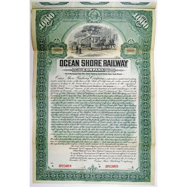 Ocean Shore Railway Co. 1905 Specimen Bond