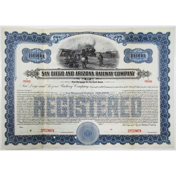 San Diego and Arizona Railway Co. 1917 Specimen Bond