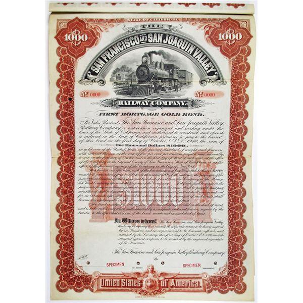 San Francisco and San Joaquin Valley Railway Co. 1896 Specimen Bond