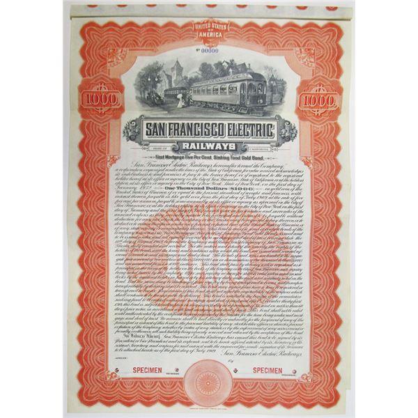 San Francisco Electric Railways 1909 Specimen Bond Rarity