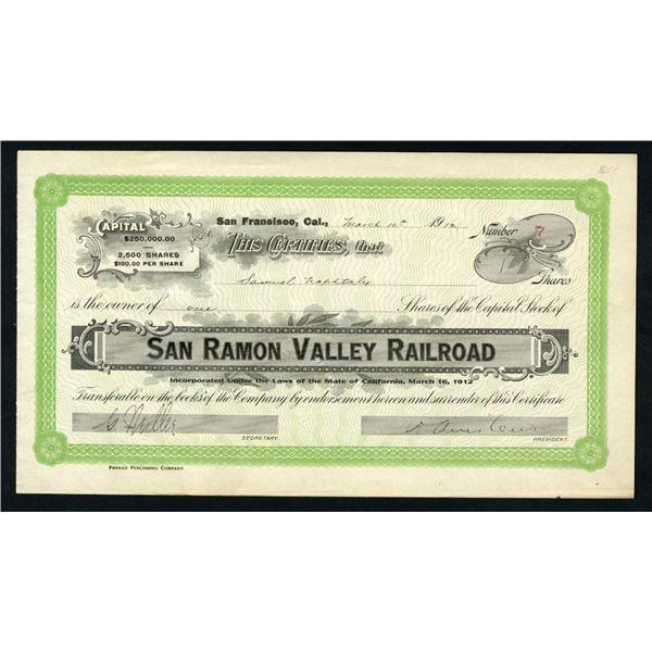 San Ramon Valley Railroad Co., 1912 I/U Stock Certificate.