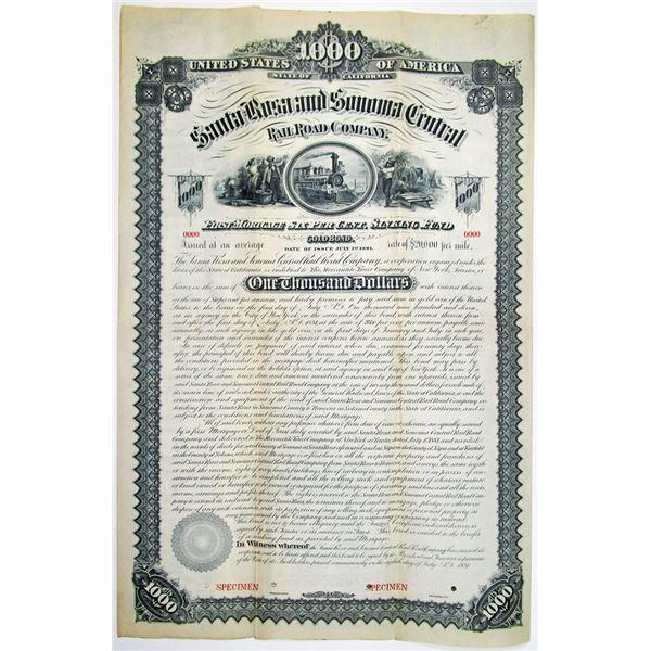 Santa Rose and Sonoma Central Rail Road Co. 1881 Specimen Bond Rarity