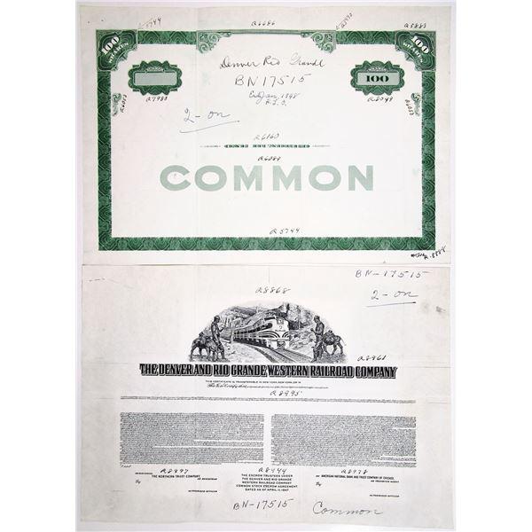 Denver and Rio Grande Western Railroad Co., 1947 Progress Proof Stock Certificate Pair