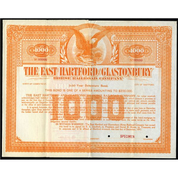 East Hartford and Glastonbury Horse Railroad Co. 1897 Specimen Bond