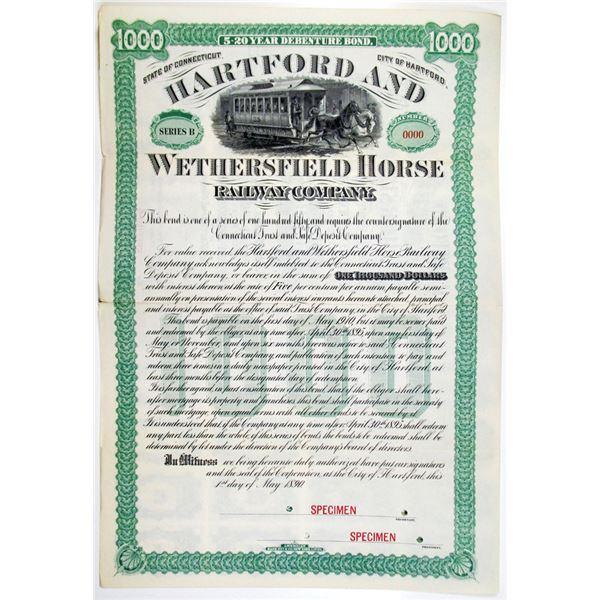 Hartford and Wethersfield Horse Railway Co. 1890 Specimen Bond Rarity