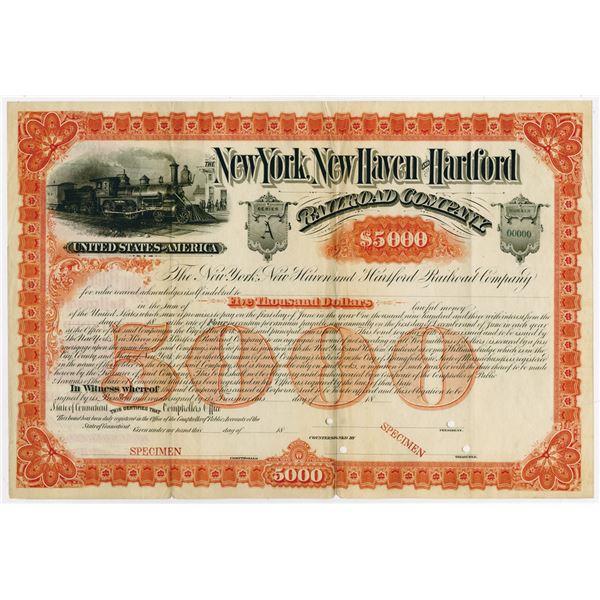 New York, New Haven and Hartford Railroad Co. ca.1880-1890 Specimen Bond Rarity.
