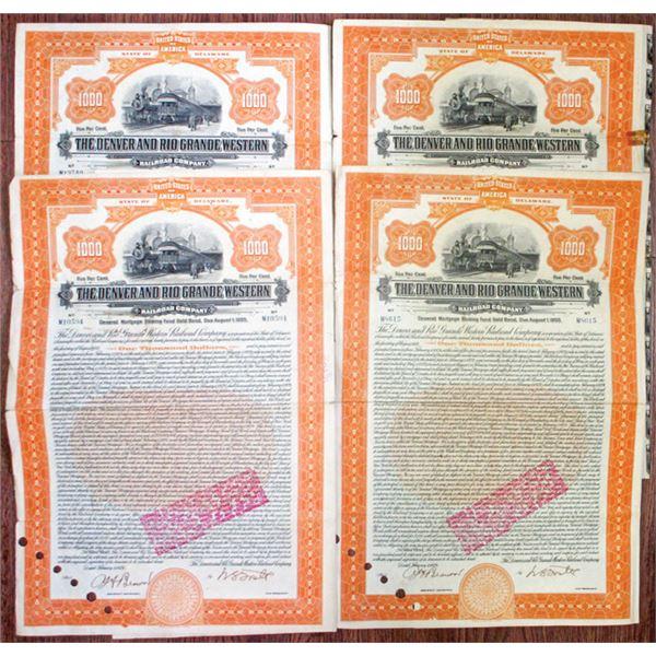 Denver and Rio Grande Western Railroad Co. 1924 Issued Bond Quartet
