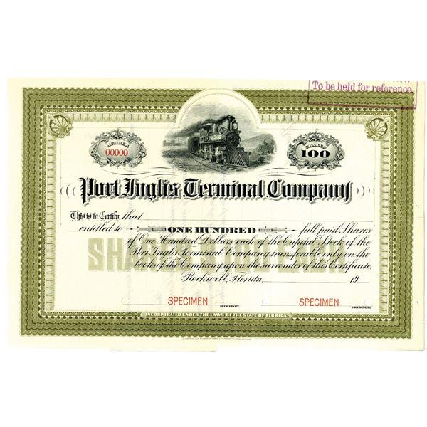 Port Inglis Terminal Co. 1904 Specimen Stock Certificate Rarity