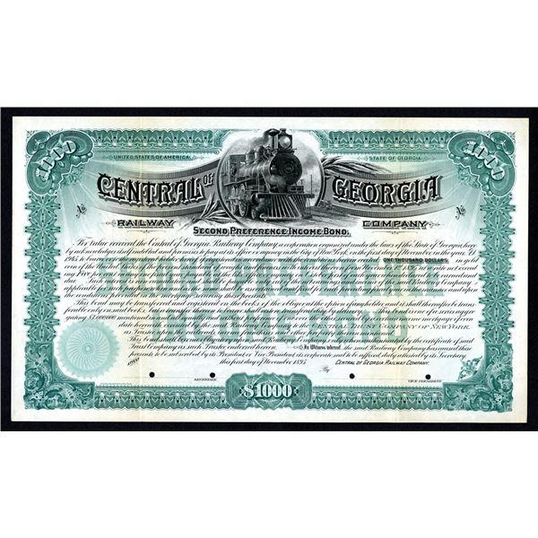 Central of Georgia Railway Co., 1895, $1000 Specimen Bond.