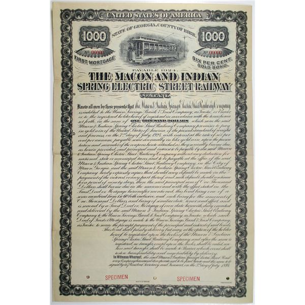 Macon and Indian Spring Electric Street Railway Co. 1894 Specimen Bond