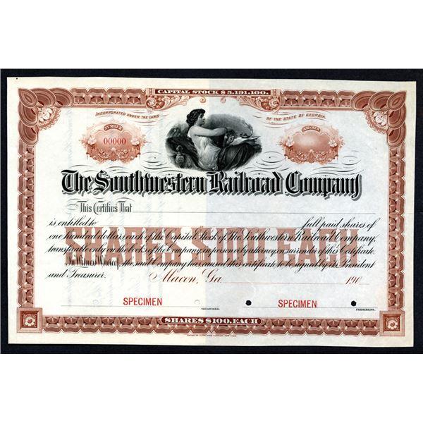 Southwestern Railroad Co., 1900-1910 Specimen Stock Certificate.