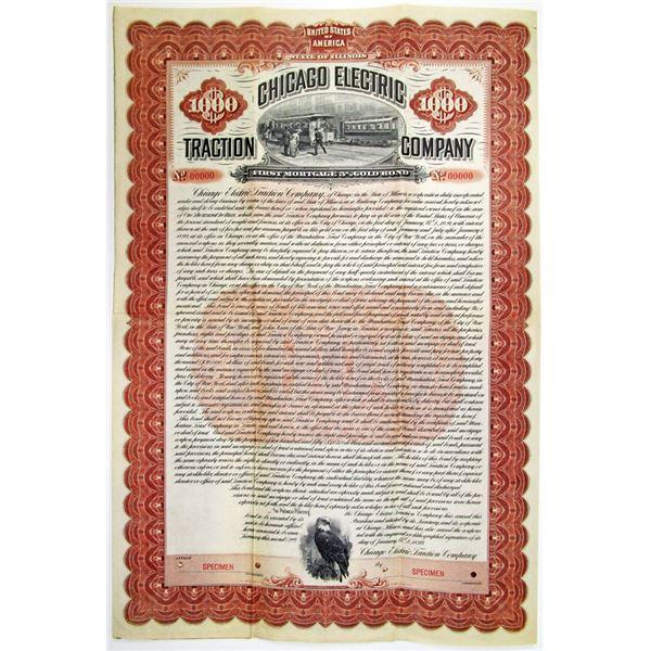 Chicago Electric Traction Co. 1899 Specimen Bond Rarity