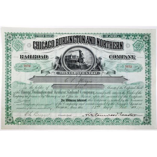Chicago, Burlington and Northern Railroad Co. 1902 I/U Stock Certificate