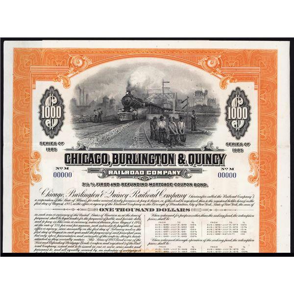 Chicago, Burlington and Quincy Railroad Co., 1945 Specimen Bond