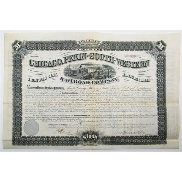 Chicago, Pekin and South-Western Railroad Co. 1876 I/U Coupon Bond