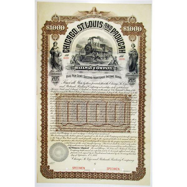 Chicago, St. Louis and Paducah Railway Co. 1887 Specimen Bond