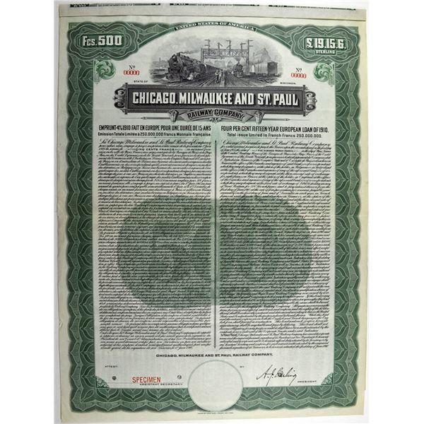 Chicago, Milwaukee and St. Paul Railway Co., 1910 Specimen Bond