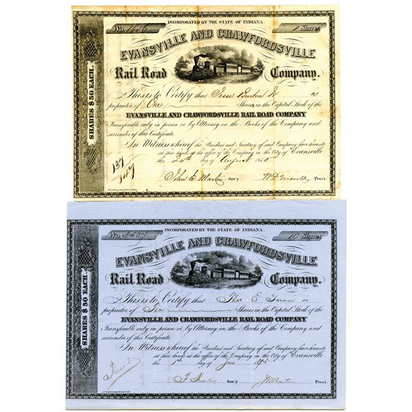 Evansville and Crawfordsville Rail Road Co., 1855 and 1875 I/U Stock Certificate Pair.
