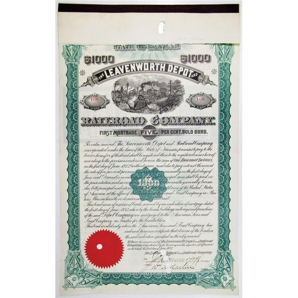 Leavenworth Depot and Railroad Co. 1892 I/C Bond