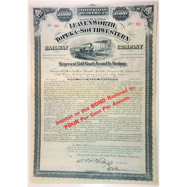 Leavenworth, Topeka and Southwestern Railway Co., 1882 I/U Gold Bond.