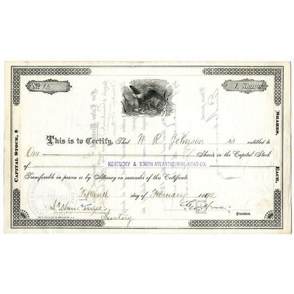 Kentucky & South Atlantic Rail Road Co., 1892 I/C Hand Written Generic Stock Certificate Form.